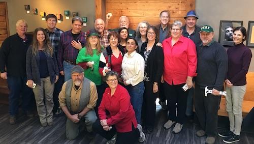 Members of the CERT Auxiliary Working Group // Kneeling: Hank Moeller (Bonny Doon), Joyce Smith (Santa Cruz) // Standing, L-R: Ed Olson (Bonny Doon), Lisa Ehret (UCSC), Jim Nelson (Scotts Valley), George Wright (Aptos Knoll), Liz Taylor-Selling (Felton, Auxiliary Board), Ken Jensen (Bonny Doon), JoAnn McDonnell (La Selva, Auxiliary Secretary), Greig Rose (Seacliff, Auxiliary Board), Sophie Grant (Watsonville), Catherine Green (Santa Cruz), Mary Edmund (Auxiliary Executive Director), LizAnne Jensen (Bonny Doon, Auxiliary Board), Ken Braly (Auxiliary Webmaster), Julie Wuest (Boulder Creek), John Lippman (Santa Cruz, Auxiliary Board), Bill Monroe (Boulder Creek), Diana Hayden (Seacliff)